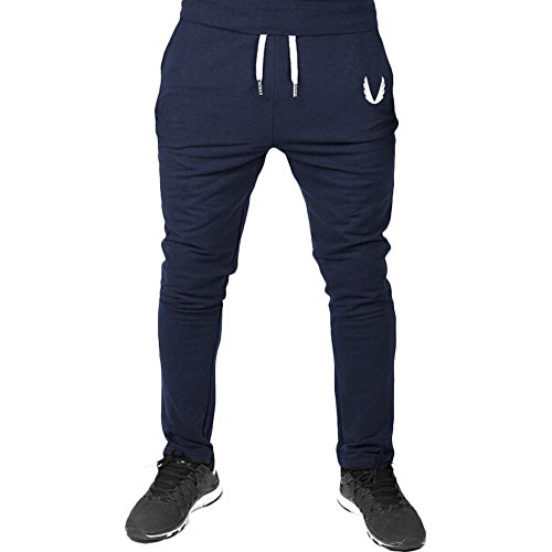 Duck Flannel Washed Lined Dungaree (Men Drawstring Pants,Vanvler Male Sportswear Casual -Elastic Fitness Workout Running [ Gym Trousers ] (XL, Navy))