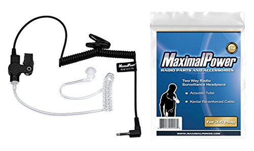 Cheap MaximalPower RHF 617-1N 3.5mm RECEIVER/LISTEN ONLY Surveillance Headset Earpiece with Clear Acoustic Coil Tube Earbud Audio Kit For Two-Way Radios, Transceivers and Radio Speaker Mics Jacks police radio earpiece