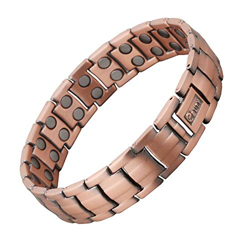 Mens Copper Magnetic Therapy Bracelet Pain Relief for Arthritis and Carpal Tunnel Double Row Magnets (Upgraded Version)