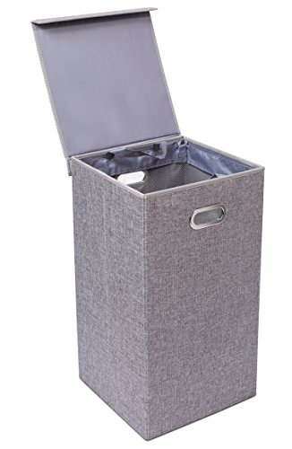 (BirdRock Home Single Laundry Hamper with Lid and Removable Liner - Linen - Easily Transport Laundry - Foldable Hamper - Cut Out Handles )