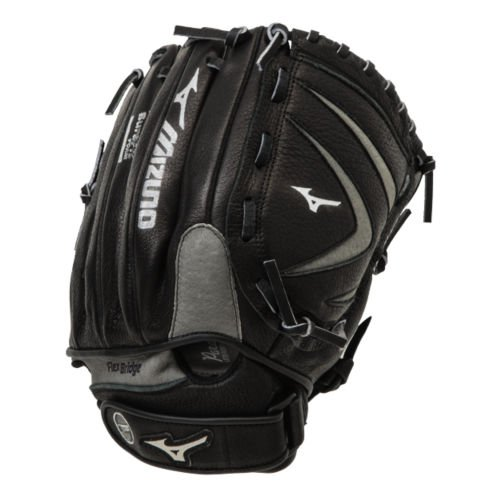 - Mizuno Youth Prospect Leather Ball Glove, Black/Silver, 11.75