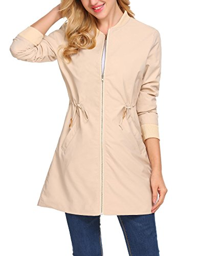 ELESOL Women's Long Sleeve Zipper Blazer Jacket Coat Short Trench Coat Outdoor Fall Jacket - Short Jacket Trench