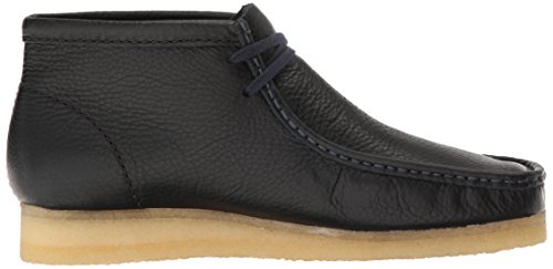 Clarks Mens Wallabee Shoe Navy In Pelle Martellata
