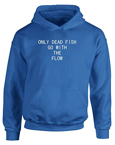 Only Dead Fish Go With The Flow, Kids Printed Hoodie – Royal Blue/White 7-8 Years