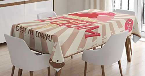 Ambesonne Ice Cream Decor Tablecloth, Vintage Sign with Homemade Ice Cream Best in Town Quote Print, Dining Room Kitchen Rectangular Table Cover, 60 W X 90 L inches, Red Coral Cream Tan