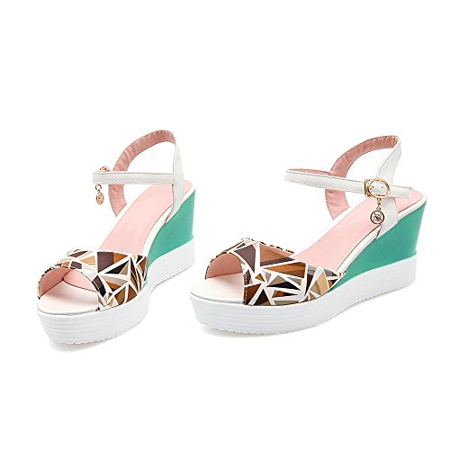 Two Toned WeenFashion High Women's Toe White PU Open Buckle Sandals Heels 5AUwwpq