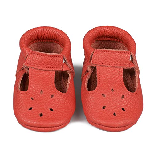 LittleBeMocs T-Strap Baby Moccasins (Italian Leather) Soft Sole Shoes for Boys and Girls | Infants, Babies, Toddlers (M | 12-15 mo. | 5.2