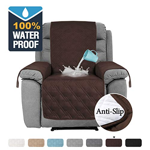 """H.VERSAILTEX 100% Waterproof Furniture Protectors for Recliners Sofa Cover for Leather Sofa, Non-Slip Protector for Recliner Chair, Recliner Cover Protect from Pets Kids (Recliner 22"""", Brown)"""