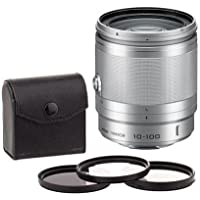 Nikon 1 10-100MM Lens for Mirrorless Camera. Silver. Value Kit with Accessories.