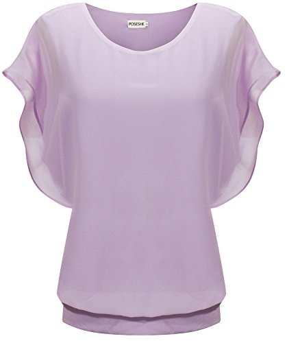POSESHE Women's Loose Casual Short Sleeve Chiffon Top T-shirt Blouse (L, (Purple Chiffon)