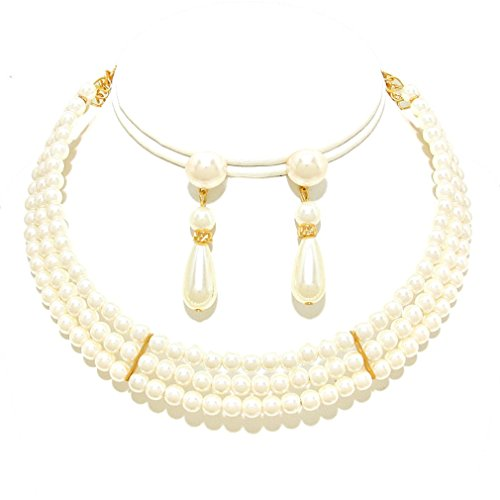 Affordable Wedding Jewelry Cream Three Strand Pearl Gold Earrings Choker Necklace Set