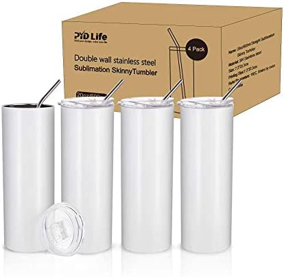 PYD Life 4 Pack 20oz Sublimation White Straight Skinny Tumbler with Metal Straw,Double Walled Stainless Steel Travel Coffee Tumbler Cups,Sublimation Tumblers for Heat Transfer,Sublimation Blanks