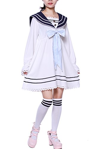 Lemail Girls Sailor School Uniform Chiffon Japanese Long Sleeve Pleated Mini Dress Blue M (Sailor Uniform Dress)