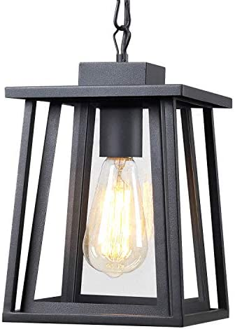 Jazava Outdoor Pendant Light One-Light Hanging Lantern, Exterior Hanging Lights for Porch, Matte Black Finish with Highlights and Clear Glass for House Entryway