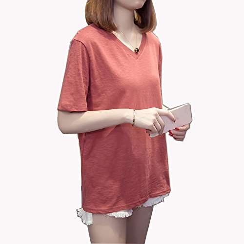 red Wine courtes NEW pour Size Wine Chemise courtes femmes manches couleur manches taille XXXXL Red pure grande Color qwwOAaf