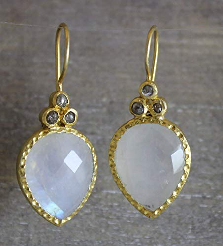 Rainbow Moonstone Gemstone and Diamond Gold Plated Earrings Earwires Gifts for Women (Diamond Moonstone Earrings)