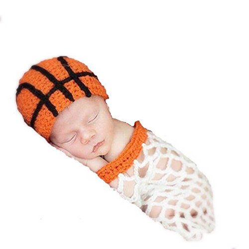 Cricle Circle Newborn Baby Boy Girls Photography Props Handmade Crochet Animal Costume Set (Basketball)]()