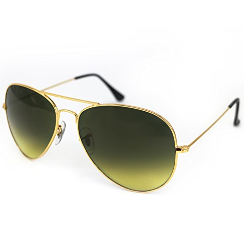 Aviator Metal Light Mirrored Sunglasses Gradient Lens UniSex Non Polarized by HMIAO (Gold Frame, Yellowish - Bans Womens Ray Most Popular