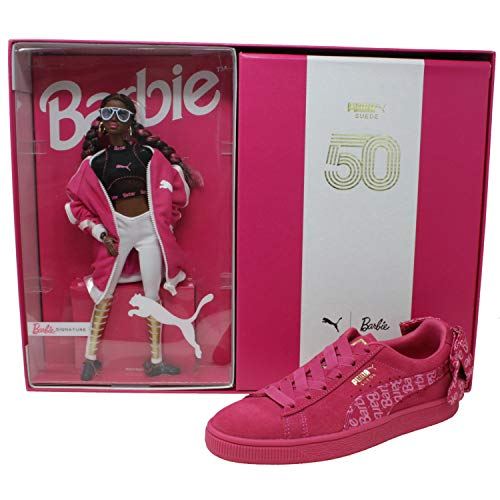 PUMA Women's Suede Classic Sneakers with Barbie Doll, Raspberry Pink/Puma White, 6.5 M US