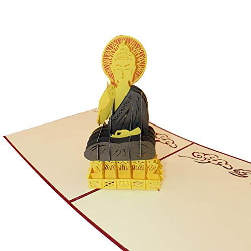 Buddha Greeting Cards - Dolland Pop Up Cards Buddha Statue Blessing Card Creative Architecture Greeting Cards Mother's Day Graduation Retirement Gift Card