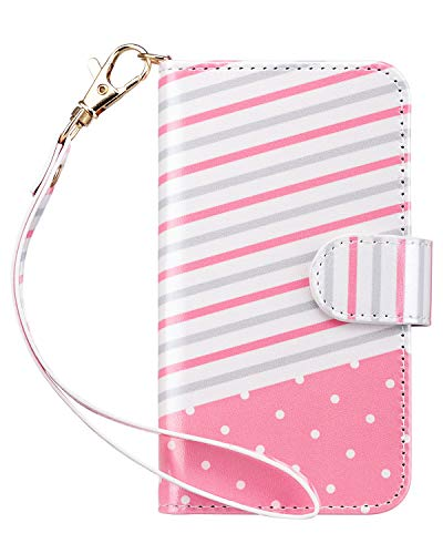 Ipod Touch Case Holder - ULAK iPod Touch 6 Case, iPod Touch 5 Case, Cute Flip Wallet Stand 3 Card Slots/ID Holders PU Leather Wallet Folio Shockproof Cover for Apple iPod Touch 5 6th Generation (Pink Stripes)