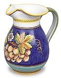 Hand Painted Italian Ceramic Uva Fresco Pitcher - Handmade in Deruta