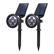 2PACK Solar Powered LED Garden Spotlight, ProGreen 2-in-1 Waterproof 4 LED Solar Spotlight Adjustable Landscape Solar Lighting Wall Light for Outdoor Garden Decorations