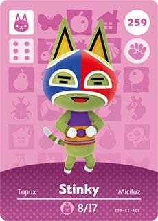 Stinky - Nintendo Animal Crossing Happy Home Designer Amiibo Card - 259