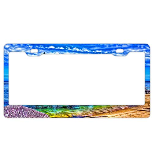 Decorative License Plate Frame Tag Aluminum Metal, Custom Car Tag Cover, License Plate Holder for US Vehicles - Blue Chalet Palm Trees
