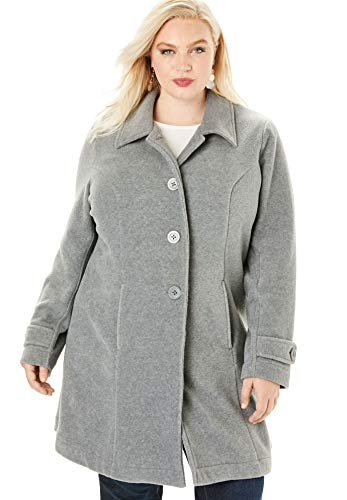 Roamans Women's Plus Size Plush Fleece Jacket - Heather Grey, 1X ()