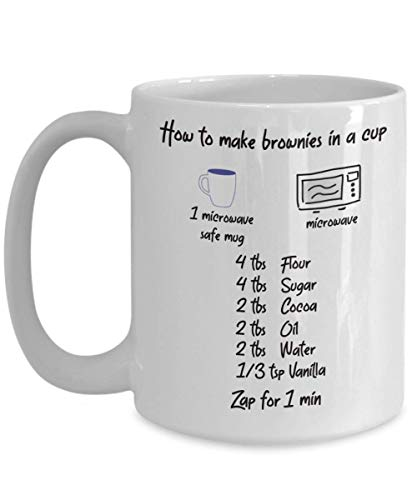 Simple Brownie Recipe Mug - How To Make Brownie In A Cup - Funny Baking Lovers Gift, Baker Present, No Bake Desserts, Mug Meals Cookbook