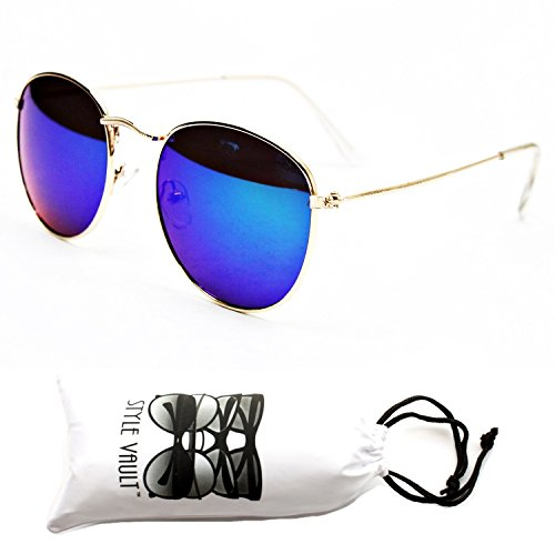 V120-vp Style Vault Metal Round Retro 80s 90s Sunglasses (126RV Gold-Emerald Green, - Style Sunglasses 90s Round