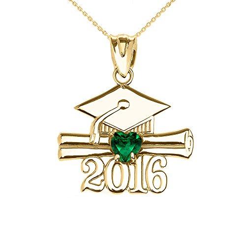 Collier Femme Pendentif 10 Ct Or Jaune Cœur Mai Pierre De Naissance Vert Oxyde De Zirconium Classe De 2016 Graduation (Livré avec une 45cm Chaîne)