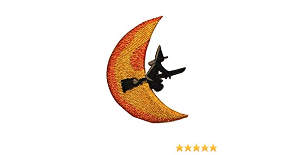ID 0898 Nice Witch on Broomstick Patch Halloween Embroidered Iron On Applique