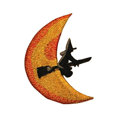 ID 0891A Witch On Broomstick Moon Patch Halloween Embroidered Iron On Applique -
