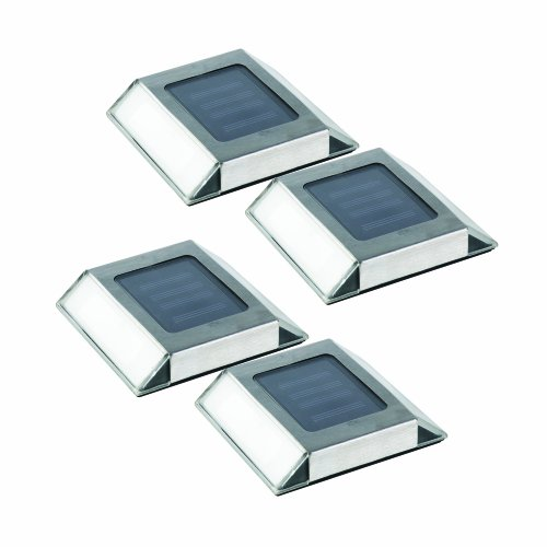 Nature Power 21072 Solar Powered LED Pathway Lights, Stainless Steel, 4-Pack