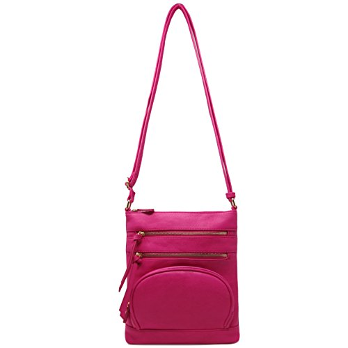 Fuchsia Multi Solene Leather Crossbody Bag Pocket Faux Purse qg0vR