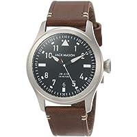 Jack Mason Men's Watch Aviator Brown Italian Leather Strap JM-A101-002