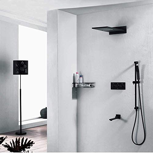BZM-ZM 隠されたシャワーセットの銅4機能ホットとコールドトップは、実用的な美しいブラックシャワーシャワーの蛇口スプレー