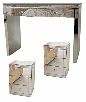 new styles 1ba69 f708e MY-Furniture CHELSEA RANGE Mirrored Dressing Table/Console 2 x 3 Drawer  Mirrored Bedside Tables