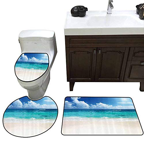3 Piece Toilet mat Set Ocean Decor Collection Paradise Beach in Caribbean Sea with Exotic Tropical Sky Sun Calm Hot Dreams Space U-Shaped Toilet Mat Cream Turquoise]()