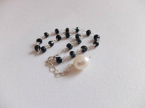 JP_Beads Gold Rose Filled Stacking Bracelet,Gemstone Faceted Rondelle Bracelet, Midnight Blue Sapphire Rosary Style Bracelet,Freshwater Pearls 4 mm