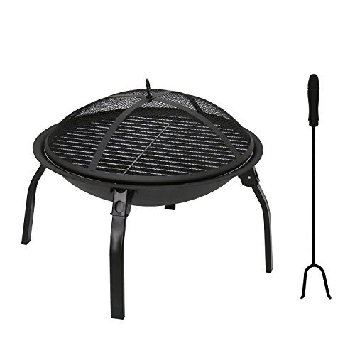 Kinbor 22-Inch BBQ Grill Portable Wood Burning Fire Pits Iron Backyard Patio Garden Round Fire Pit with Cooking Grill, Spark Screen
