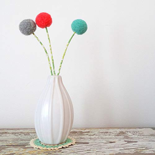Coral, mint, grey felt flowers. Modern pom pom flowers. Needle felted Wool felt ball blossoms. Coral, green nursery decor. Round flowers