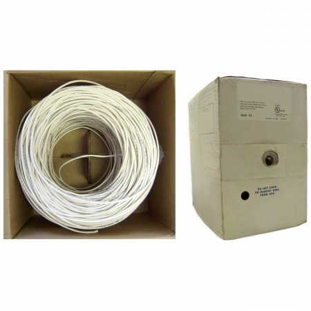 Shielded Plenum Security Cable, White, 18/2 (18 AWG 2 Conductor), Stranded, CMP, Pullbox, 1000 foot by Cable wholesale