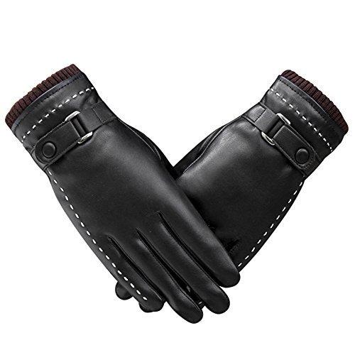 Gloves Leather Gloves Winter Driving Gloves Warm Wool Fleece Lining Touchscreen Mitten for Women (L, Black-2)