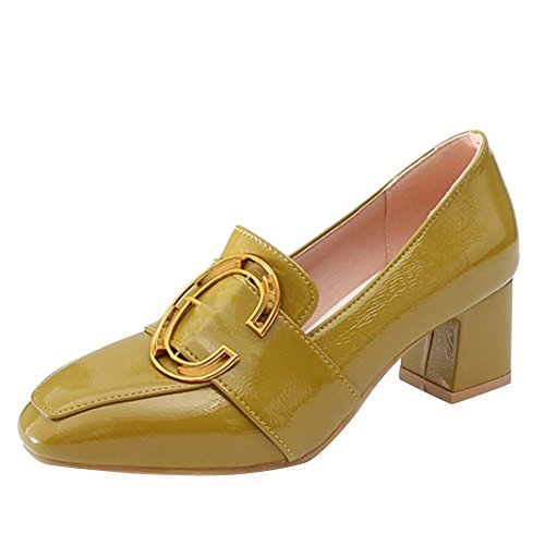 Loafers Chunky On Ungefüttert Slip Heels Shoes Damen Mee Grün 0qzSx
