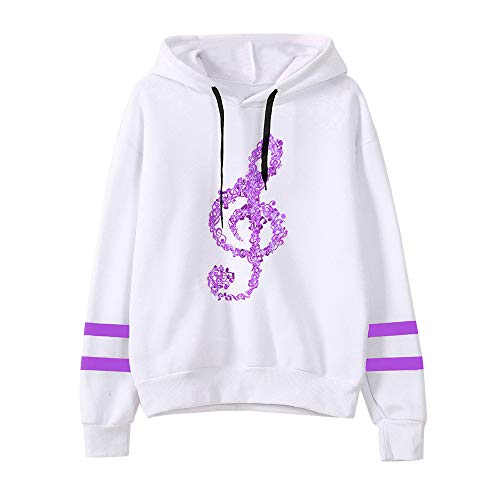 - TUSANG Womens Winter Casual Musical Notes Long Sleeve Hoodie Sweatshirt Hooded Pullover Tops Blouse(Purple,M)