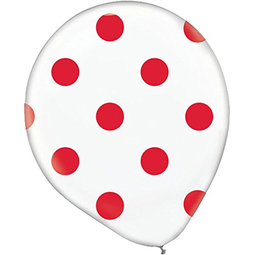 Polka Dots Latex Balloons   White/Apple Red   Pack of 20   -