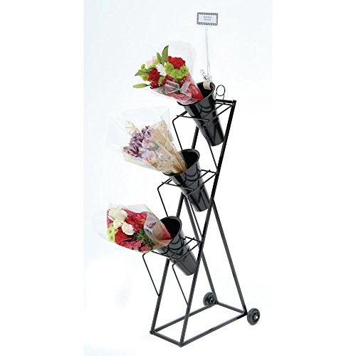 Mobile Floral Display Rack 3-Tier Black Metal - 13